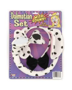 Dalmation Dog With Sound Animal 4pc Costume Accessory Set, Black White, One-Size