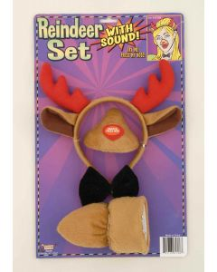 Forum Christmas Reindeer with Sound 4pc Costume Accessory Set, Red, One-Size