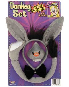 Donkey Ears, Nose, & Tail Sound Effects 4pc Costume Accessory Set