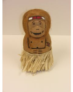 "Carved Coconut Monkey Man with Hula Skirt 12"" Table Decoration, Brown"