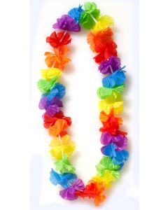 "Colorful Flower Petal Hawaiian Luau Party Fabric Leis, Rainbow, 34"", 12 Pack"