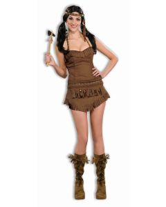 Forum Sexy American Indian Princess 3pc Adult Costume, Brown, X-Small/Small 2-6