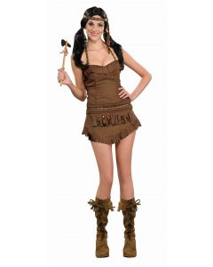 Forum Sexy American Indian Princess 3pc Adult Costume, Brown, Medium/Large 8-12