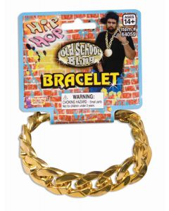 Forum Halloween Gangster Hip Hop Bling Adjustable Bracelet, Gold, One Size