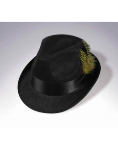 Forum Halloween Classic Trilby with Feather Hat Fedora, Black, One-Size