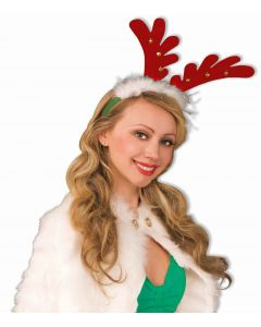 Forum Christmas Reindeer Antler Jingle Bell Headband, Red Green, One-Size 7""