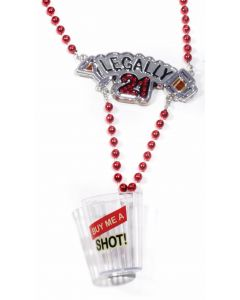 Forum Legally 21 Party Plastic Shot Glass One-Size Party Necklace, Red