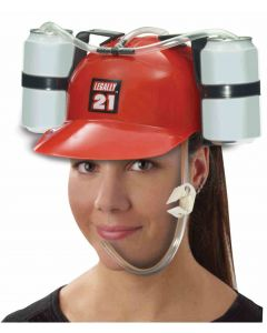 Forum Legally 21 Hat with Drink Holders One-Size Adjustable Party Hat, Red