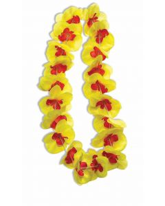 Forum Hawaiian Luau Summer Party Flower Petal Fabric Lei, Yellow Red, One-Size
