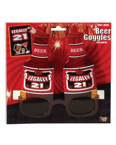 Forum Legally 21 Drinking Party Beer Shaped One-Size Glasses, Red Brown