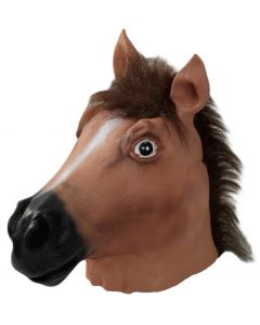 Forum Halloween Cosplay Deluxe Horse Head Latex Mask, Brown Black, One-Size
