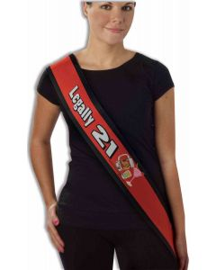 Forum Legally 21 Birthday Pageant Sash Costume Accessory, Red Black, One-Size