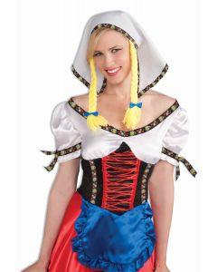 Forum Halloween Oktoberfest Bar Maiden Fraulein Headpiece, White Yellow
