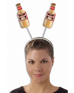 Forum Legally 21 Beer Bottle Shaped One-Size Headband Boppers, White Brown