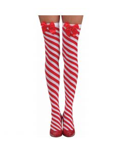 Forum Sexy Christmas Bow Candy Cane Striped Thigh-Highs, Red White, One-Size