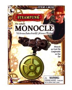 Forum Halloween Steampunk Cosplay Monocle Costume Accessory, Gold, Adult Size