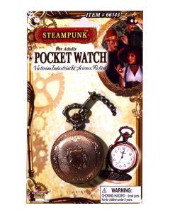 """Forum Halloween Steampunk Cosplay 2"""" Pocket Watch with 13"""" Chain, Bronze Gold"""
