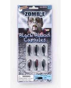 Forum Dead Walker Zombie Blood Capsules 6pc .18 fl oz Fake Blood, Black