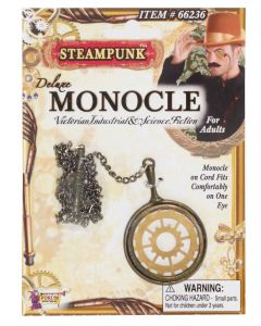 Forum Steampunk Gentleman Deluxe Monocle, Gold Silver, One-Size