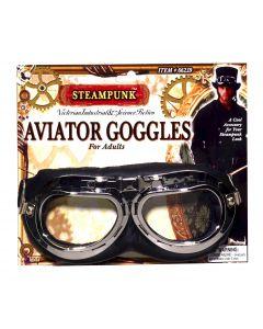 Forum Halloween Steampunk Aviator Pilot Goggles, Black Silver, One-Size