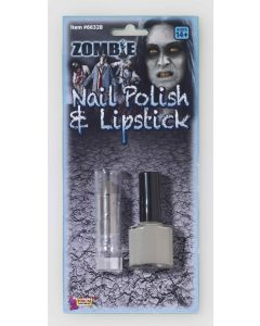 Forum Scary Zombie Standard Size Nail Polish & Lipstick 2pc Makeup Kit, Gray