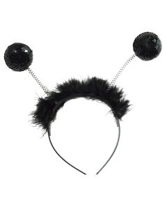 Forum Halloween Sexy Insect Sequin Antennae Headband Boppers, Black, One-Size