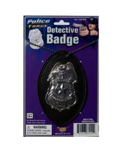 Forum Deluxe Undercover Detective Costume 4in Badge on 30in Chain, Silver Black