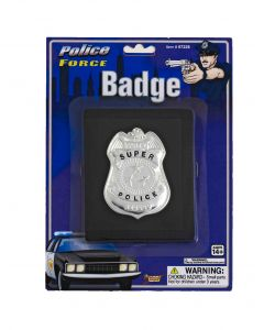 Forum Super Police Badge on Wallet Costume Prop, Silver Black, One-Size