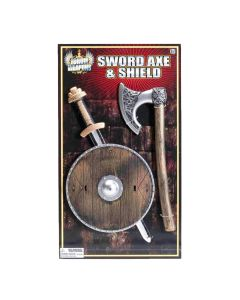 "Forum Halloween Child Viking 8"" Shield, 16"" Sword, &13"" Axe 3pc Weapon Set"
