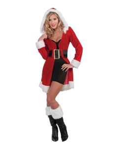 Forum Enchanting Miss Christmas Santa Short Hooded Coat, Red White, One-Size
