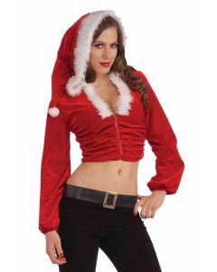 Forum Sexy Christmas Hoodie Santa Plush Hooded Jacket, Red White, X-Small/Small