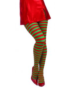 Forum Women Christmas Elf Striped Stocking Tights, Red Green, One-Size
