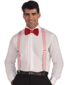 Forum Christmas Candy Cane Striped Suspenders, White Red, One-Size