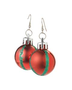 Veil Entertainment Christmas Festive Tree Ornament Earrings, Red Green, One-Size