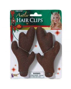 "Forum Plush Reindeer Antlers Christmas 2pc Hair Clips, Brown, One-Size 3"" Tall"