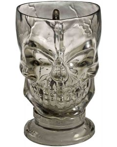 Forum Clear Thick Plastic Skull Drink 32 oz Pitcher, Transparent Black