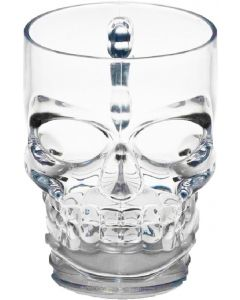 Forum Halloween Party Durable Plastic Skull Mug 5in Drinkware, Clear