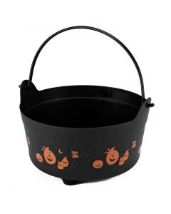 "Forum Cauldron With Handle Decorative 9"" Trick or Treat Bucket, Black Orange"