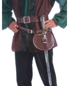 Forum Medieval Duelest Double Wrap Belt and Sword 2pc, Brown, One Size