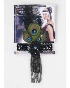 Forum Women Fancy Flapper Headband w Peacock Feather, Black, One-Size
