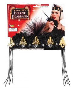 Forum 1920s Flapper Crown With Diamonds Headband, Black Gold, One-Size