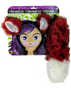 Forum Fox Ears & Tail 2pc Women Costume Accessory Set, Red, One-Size