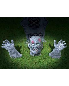 Forum Zombie Graveyard Ground Breaker 3pc 10 in Outdoor Prop, Grey Red