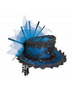Forum Miniature Lace Top Hat w Bow Costume Hair Clips, Blue, One-Size