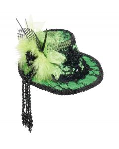 Forum Miniature Holiday Lace Top Hat with Bow Hair Clips, Green, One-Size