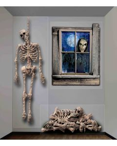 Forum Halloween Giant Ghastly Skeleton Wall 3pc 4 ft Decoration Pack