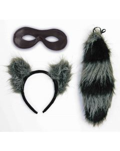 Forum Raccoon Ears and Tail Set 3pc Women Costume Accessory Set, Brown Black