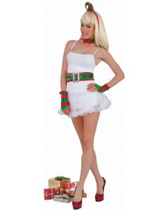 Forum Christmas Sexy Elf Hat & Belt 4pc Women Costume Set, Green Red