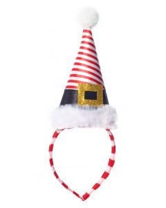 Forum Candy Cane Striped Santa's Elf Hat Headband, White Red, One-Size