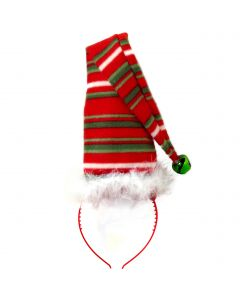 Long Festive Elf Striped Christmas Hat Headband, Red Green White, One-Size 6""